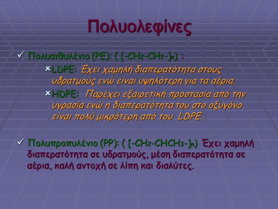 Πολυολεφίνες Πολυαιθυλένιο (PE): ( [-CH2-CH2-]n) :